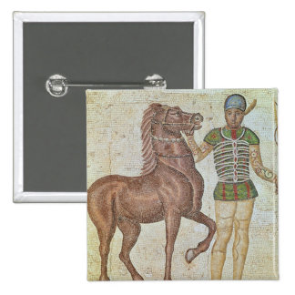 Horse rider in racing colours button