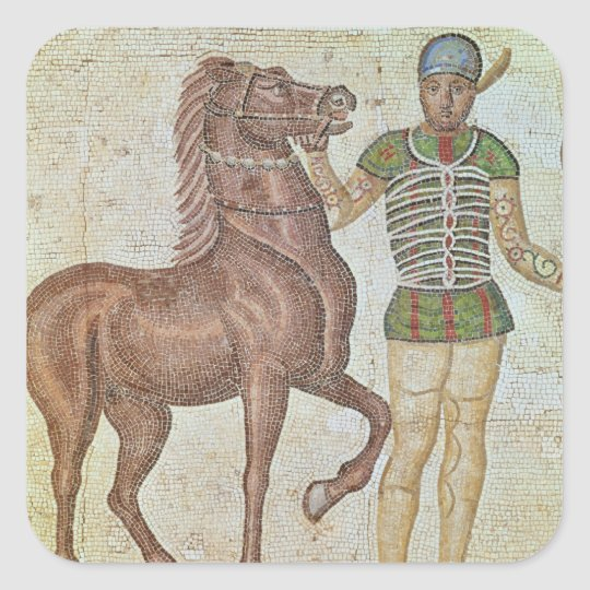 Horse rider in racing colours square sticker
