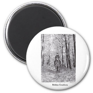 Horse & Rider in the Woods 2 Inch Round Magnet