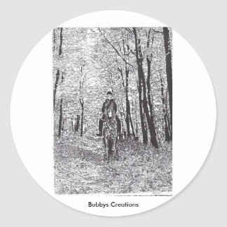 Horse & Rider in the Woods Classic Round Sticker