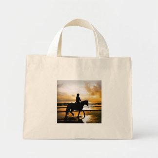 HORSE RIDER ON BEACH MINI TOTE BAG