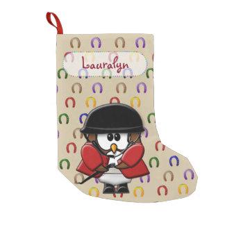 horse rider owl small christmas stocking