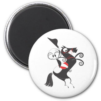 Horse rider performing pirouette rearing up 2 inch round magnet
