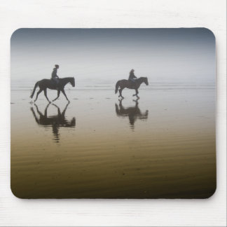 Horse riders at the beach mouse pad