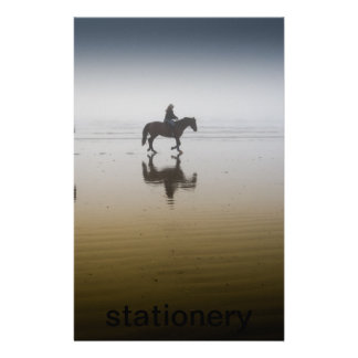 Horse riders at the beach stationery