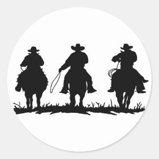 horse riders round stickers