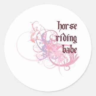 Horse Riding Babe Classic Round Sticker