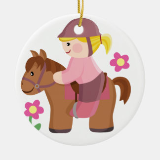 Horse riding blond hair, brown horse ceramic ornament