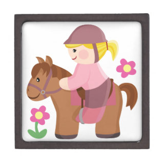 Horse riding blond hair, brown horse gift box