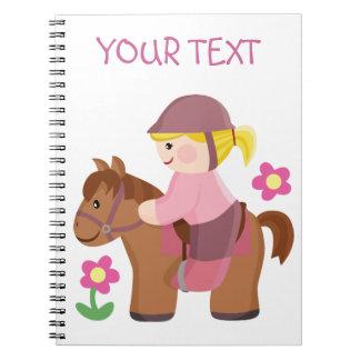Horse riding blond hair, brown horse spiral notebook
