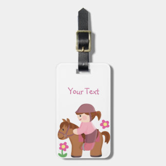 Horse riding brown horse brown hair luggage tag