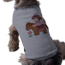 Horse riding brown horse brown hair shirt