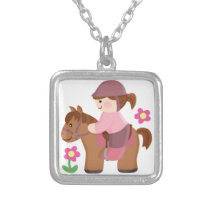 Horse riding brown horse brown hair silver plated necklace