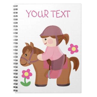 Horse riding brown horse brown hair spiral notebook