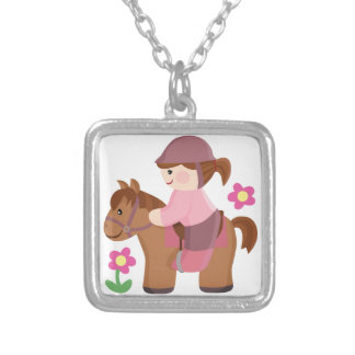 Horse riding brown horse brown hair square pendant necklace