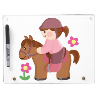 Horse riding dry erase board with keychain holder
