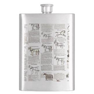 Horse Riding Equipment Newsprint Art Print Vintage Flask
