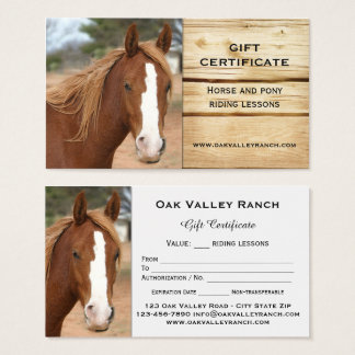 Equestrian Ranch Business Cards Templates Zazzle - Horseback riding lesson gift certificate template