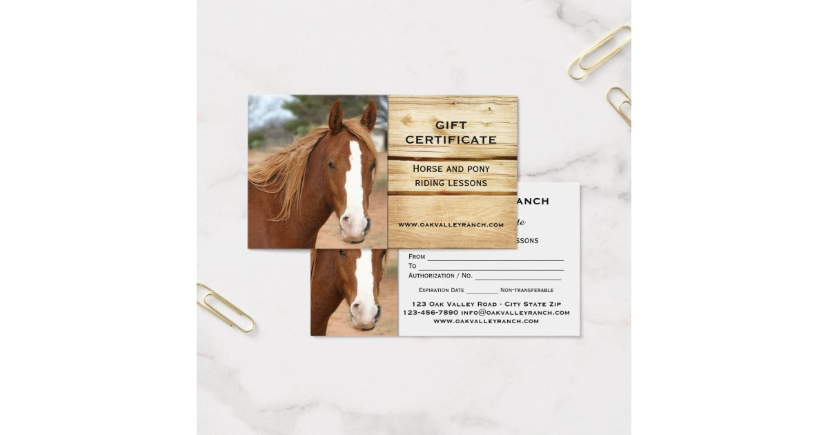 horse riding lessons gift certificate template zazzle. Black Bedroom Furniture Sets. Home Design Ideas