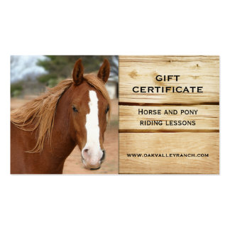 Horse Riding Lessons Gift Certificate Template Business Card