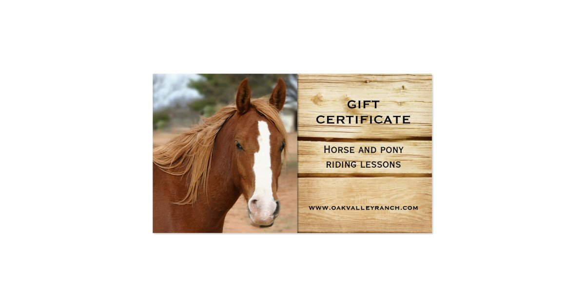 horse riding lessons gift certificate template business