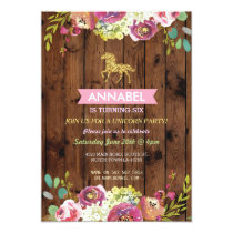 Horse Riding Party Invite Pony Wood Invitation