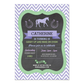 Horse Riding Party Invite Purple Pony Invitation