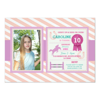 Horse Riding Photo Lessons Pink Invitation