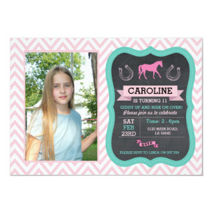 Horse riding invitations announcements zazzle horse riding photo pony pink invitation invite yadclub Gallery