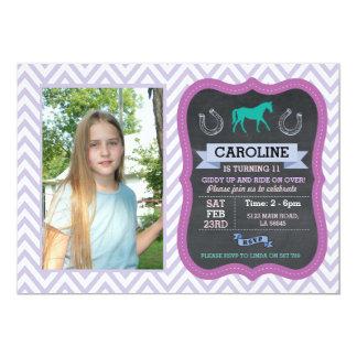 Horse Riding Photo Pony Purple Invitation Invite