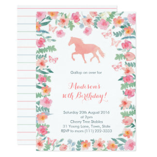 Horse Riding Pony Lessons Party Invites for Girl