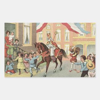Horse Riding Sinterklaas Dutch St. Nick Vintage Rectangular Sticker