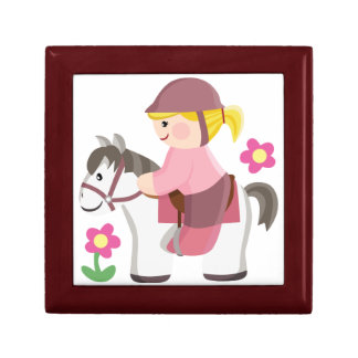 Horse riding white horse blond girl jewelry box