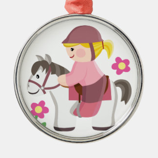 Horse riding white horse blond girl round metal christmas ornament
