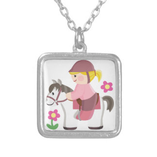 Horse riding white horse blond girl silver plated necklace