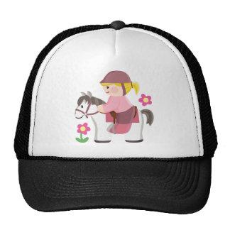 Horse riding white horse blond girl trucker hat