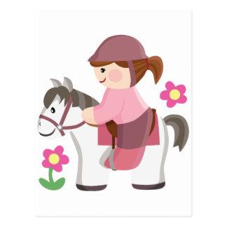 Horse riding white horse brown hair post card