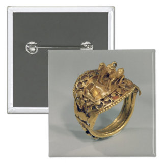 Horse ring (gold and cornelian) pinback button