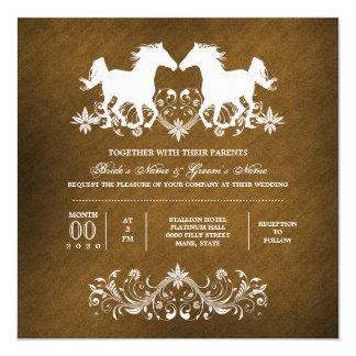 Horse romantic floral barn card
