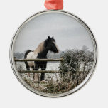 Horse Round Metal Christmas Ornament