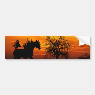 Horse Running Free at Sunset Bumper Sticker