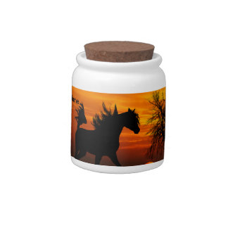 Horse Running Free at Sunset Candy Jars