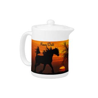 Horse Running Free at Sunset Teapot