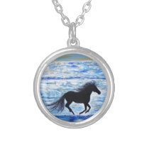 Horse Running Free by the Sea Painting Silver Plated Necklace