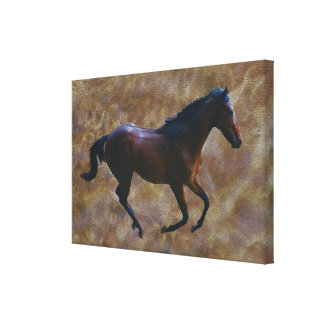 Horse running free canvas print
