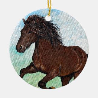 Horse Running Free Ceramic Ornament
