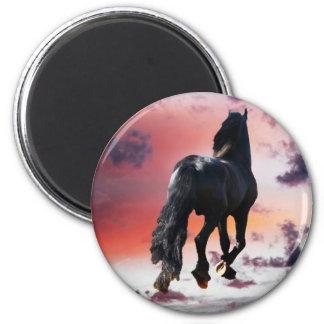 Horse running free fridge magnet