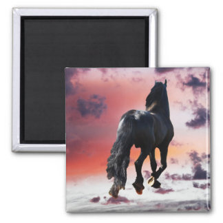 Horse running free magnet
