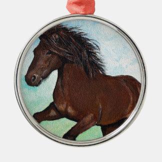 Horse Running Free Metal Ornament