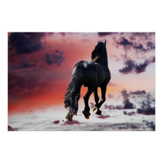 Horse running free posters
